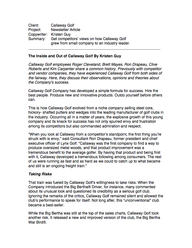 Newsletter Article, Callaway page 1