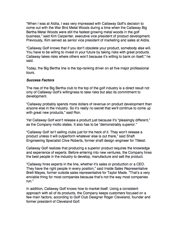 Newsletter Article, Callaway page 2