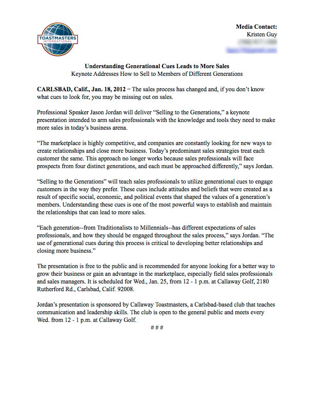 Press Release, Toastmasters page 1