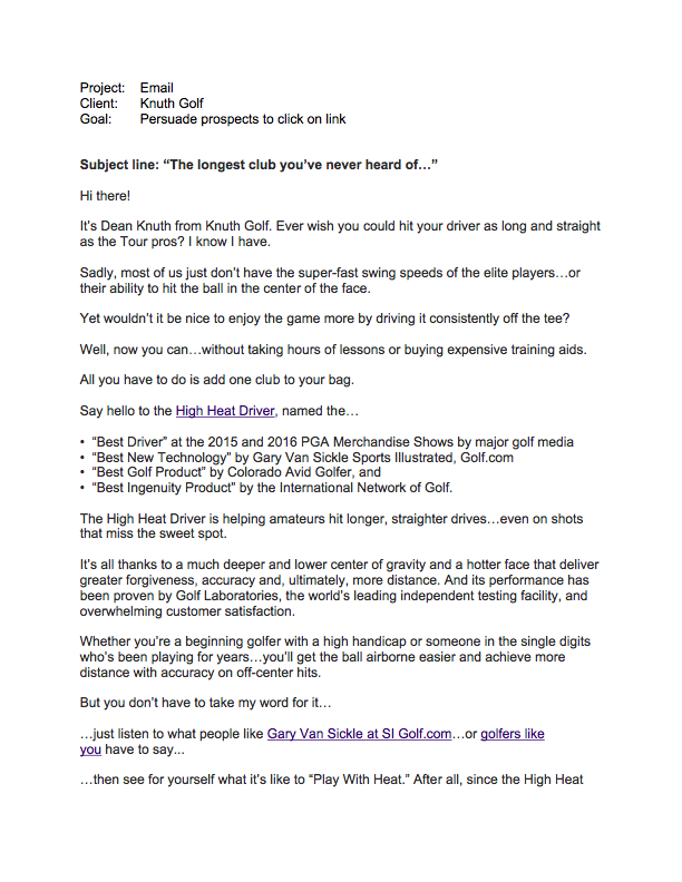 Email, Knuth Golf page 1