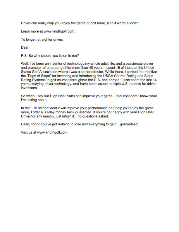 Email, Knuth Golf page 2