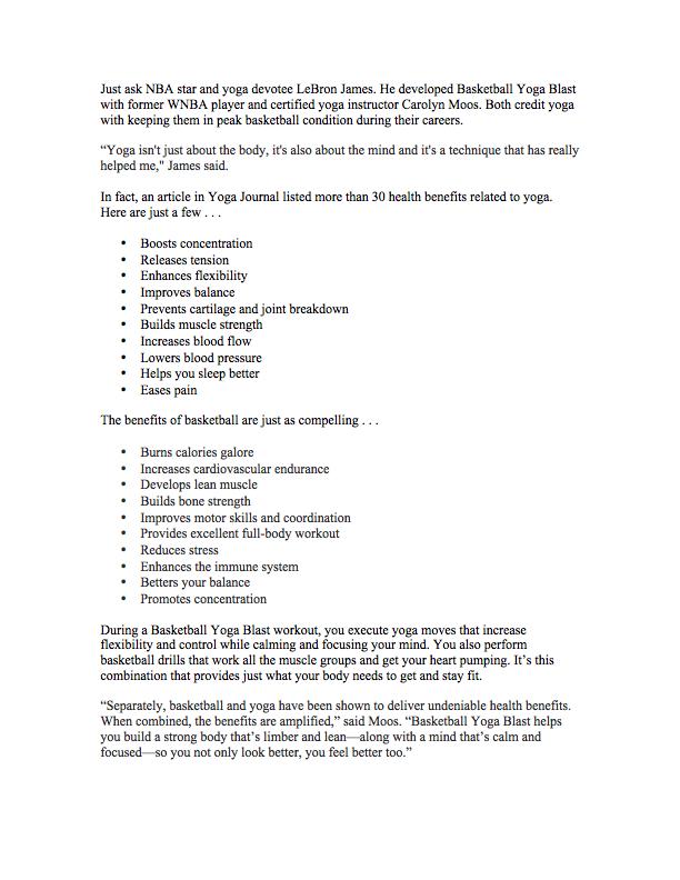 sales letter basketball yoga blast kristen guy copywriting