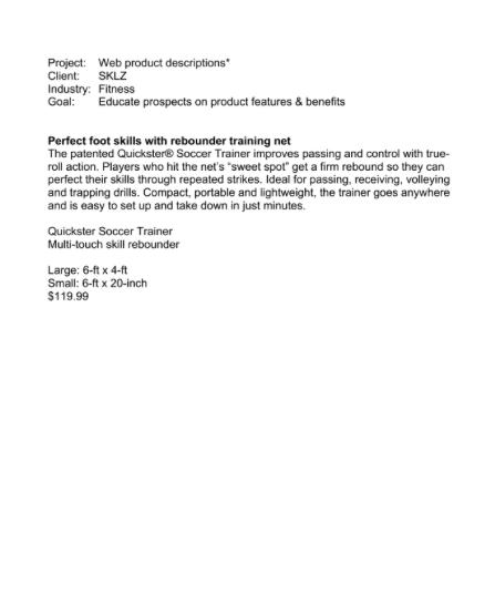 Product Description, SKLZ page 1