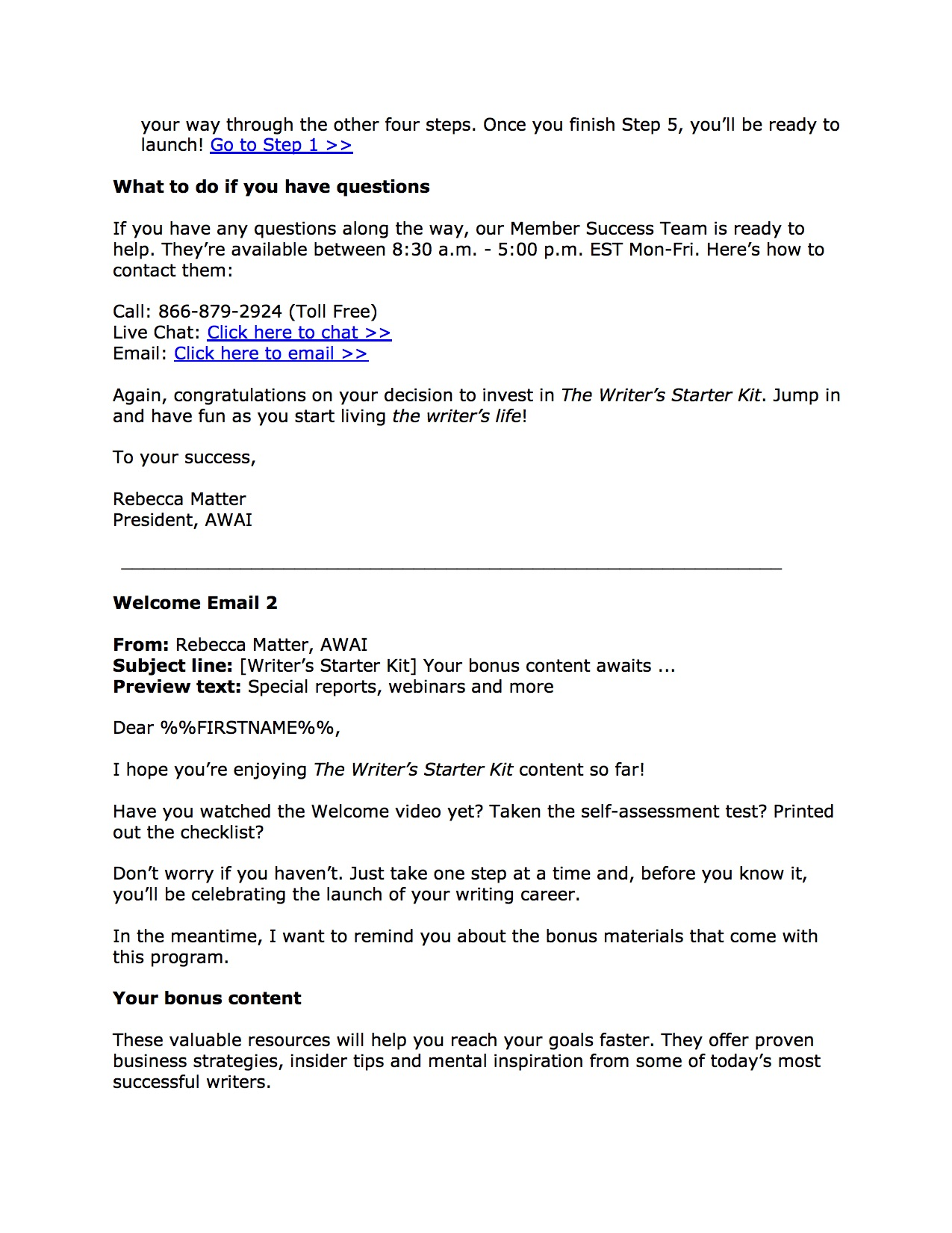 Welcome Email, WSK page 2